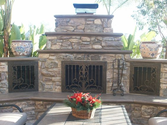 Outdoor Fireplace Door By Ams Fireplace San Diego Carlsbad Orange