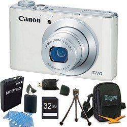 Canon PowerShot S110 White Compact High Performance Camera 32GB Bundle by Canon. $449.00. The PowerShot S110 packs a world of advancements into its sleek, pocket-sized body. While the camera makes it easy enough for any user to achieve beautiful image quality, it gives serious photographers the tools they need to take their creative expression to the highest level, including a 12.1 Megapixel High-Sensitivity CMOS sensor and DIGIC 5 Image Processor that create the ex...