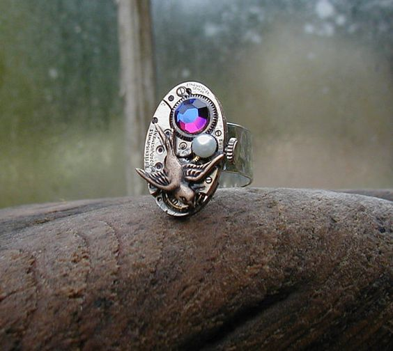 Steampunk Ring with Fresh Water Pearl and Volcano Crystal