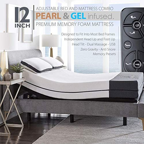 The Ananda 12 Pearl Cool Gel Infused Memory Foam Mattress Premium Adjustable Bed Frame Combo Head Tilt Massage Usb Zero Gravity Anti Snore Queen Onlin In