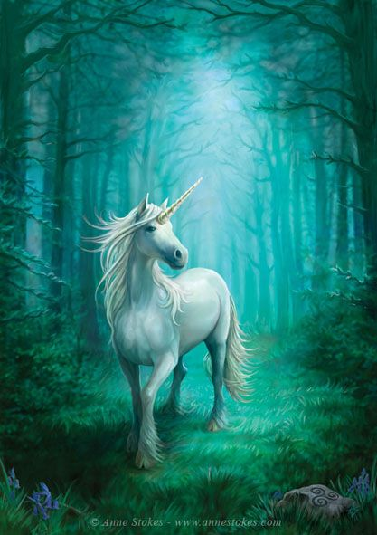 Anne Stokes : Art Gallery   Forest unicorn  Part of a new set of unicorn paintings.This is a forest scene with a smaller creature with cloven hooves and long mane. More like the look of the classic historically described unicorns. Available as cards and prints from Eastgate Resource. Artwork © Anne Stokes. Available for license.http://www.annestokes.com
