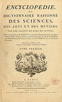 Resultado de imagen de Encyclopédie ou Dictionnaire Raisonné des Sciences, des arts et des métiers.