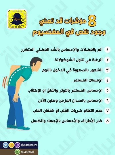 8 مؤشرات لنقص المغنيسيوم Br Br إنفوجرافيك Br صحة Health Knowledge Health Education Health Fitness Nutrition