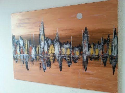 Skyline Abstract Acrylic Painting Acrylmalerei Abstrakt