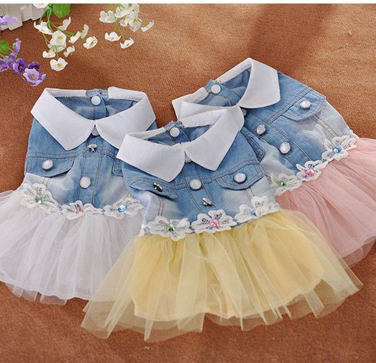 pet dog dress small dog clother spring and autumn jean skirt pet clothes for dogs puppy cat clothes