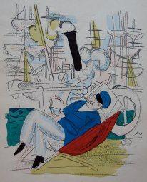 Raoul Dufy, Man reading in a deckchair  Lithograph, 1920