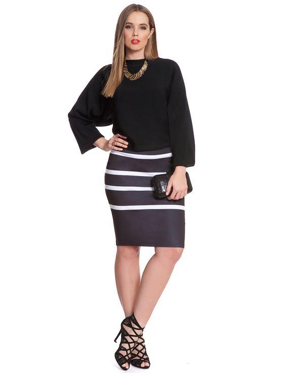 Horizontal Stripe Pencil Skirt   Women's Plus Size Skirts   ELOQUII.com