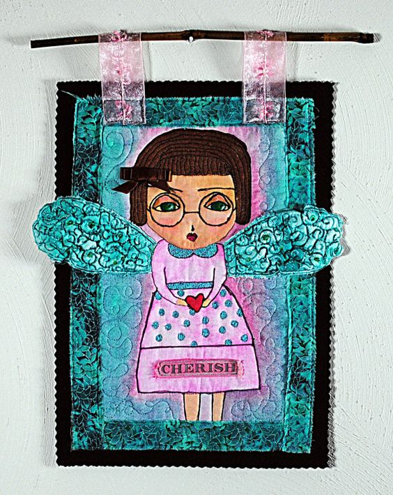 Hand Painted Mini Quilt Girl Character with by originalcyn01, $80.00
