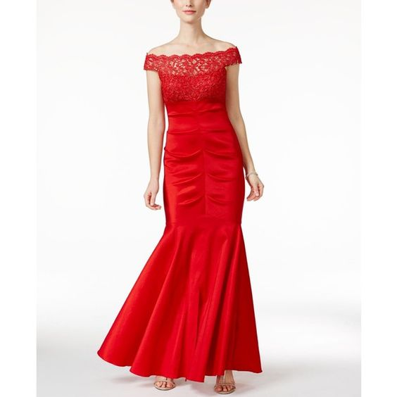 Xscape Strapless Tafetta Mermaid Gown ($171) ❤ liked on Polyvore featuring dresses, gowns, cherry red, xscape gowns, mermaid dress, strapless gown, strapless mermaid dress and xscape dresses