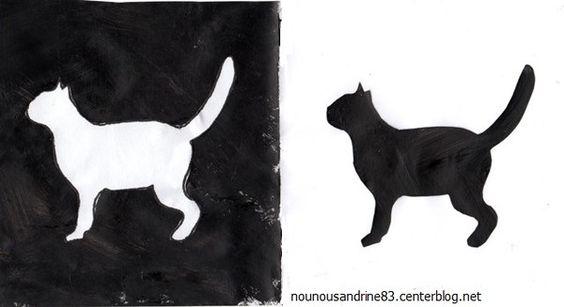 effet noir et blanc avec pochoir chat halloween cr ations pour enfants pinterest le chat. Black Bedroom Furniture Sets. Home Design Ideas