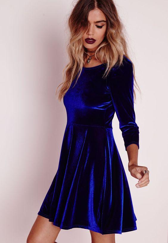 3/4 Sleeve Velvet Skater Dress Blue - Dresses - Skater Dresses - Missguided