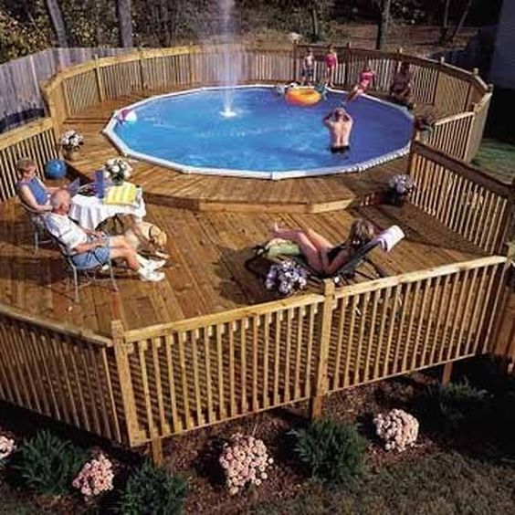 Build a deck decks and pools on pinterest - Build above ground pool ...