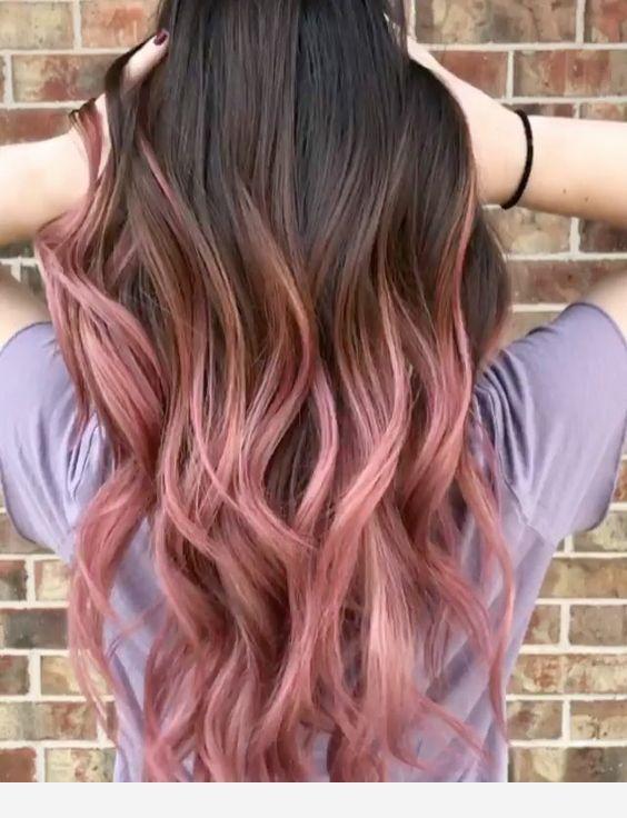 Pink Highlights For Brown Hair Hair Styles Pink Ombre Hair Dip Dye Hair