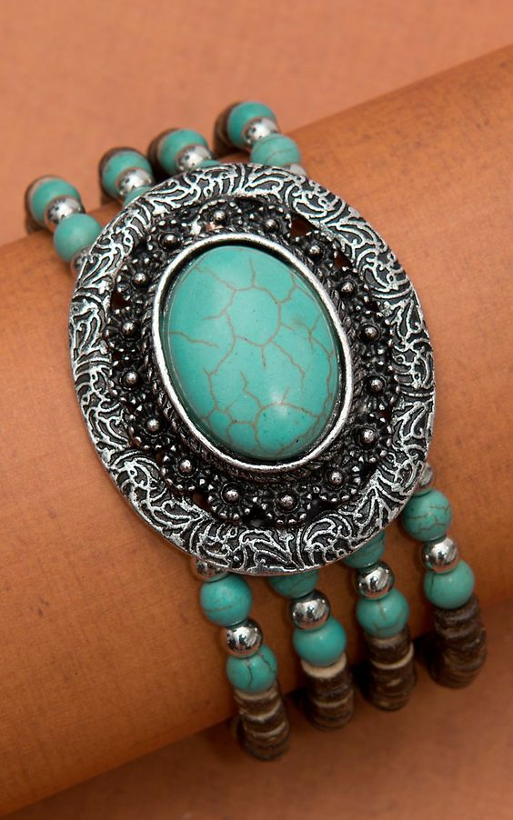 Oval Turquoise Stone Concho with Coco Beads Bracelet