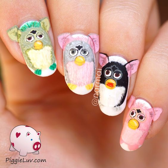 Aww it's our lovable friend Furby! Who didn't have one of these, even my grandma had one :-p I love me some nostalgia on my nails. I made a video tutorial too so come check that out!