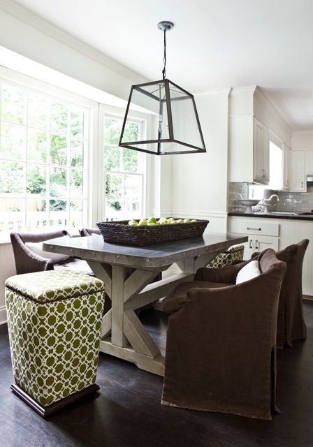 color palette at my old house...  I LOVE white, with brown and green for color.  LOVE.  Also love that table, those chairs, and that pendant light.