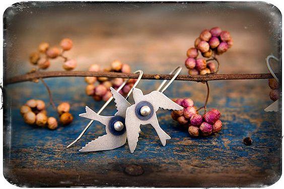 Rosy Revolver Bird Earrings