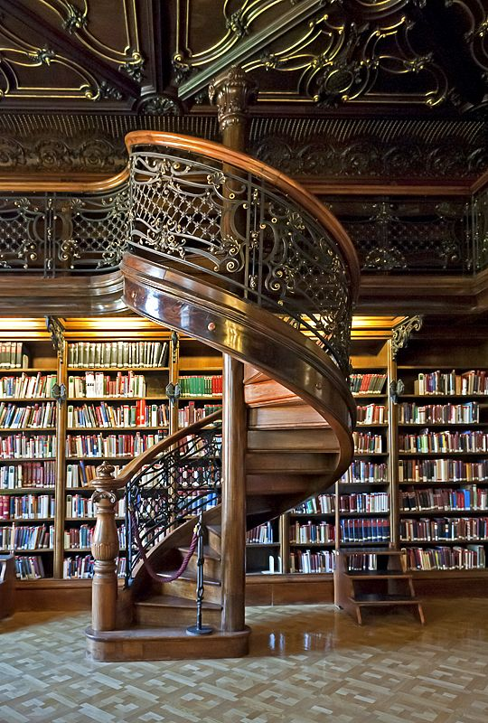 Spiral Staircase, Library, Budapest, Hungary My dream library for my dream house:
