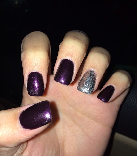 122 Nail Art Designs That You Won T Find On Google Images: Dark Purple And Silver Nails.
