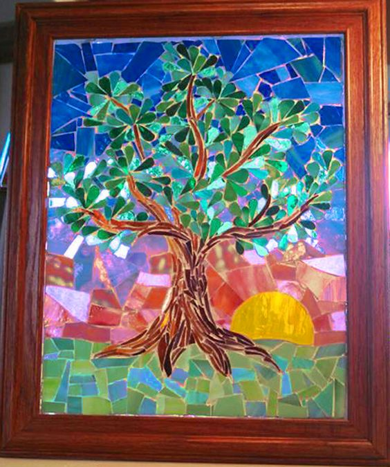 """SOLD... I have wanted to do a Tree of Life Art Glass Mosaic for some time now... and I had a request to do an eclectic tree commissioned piece...so that worked out great! There is actually lots of iridescent glass in the picture...some of it is showing up white...(cell pic ) 11"""" x 16"""""""