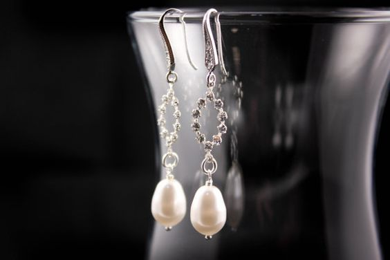 Wedding Jewelry Mandy Bridal Pearl and Crystal Oval by AnnsCrafts, $20.00