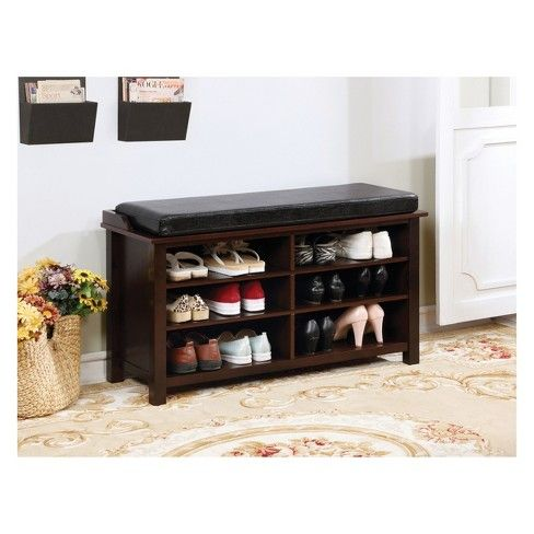 Mancuso Transitional Style Shoe Rack Storage Bench Brown Cherry Homes Inside Out Target Wood Storage Bench Storage Bench Leather Storage Bench