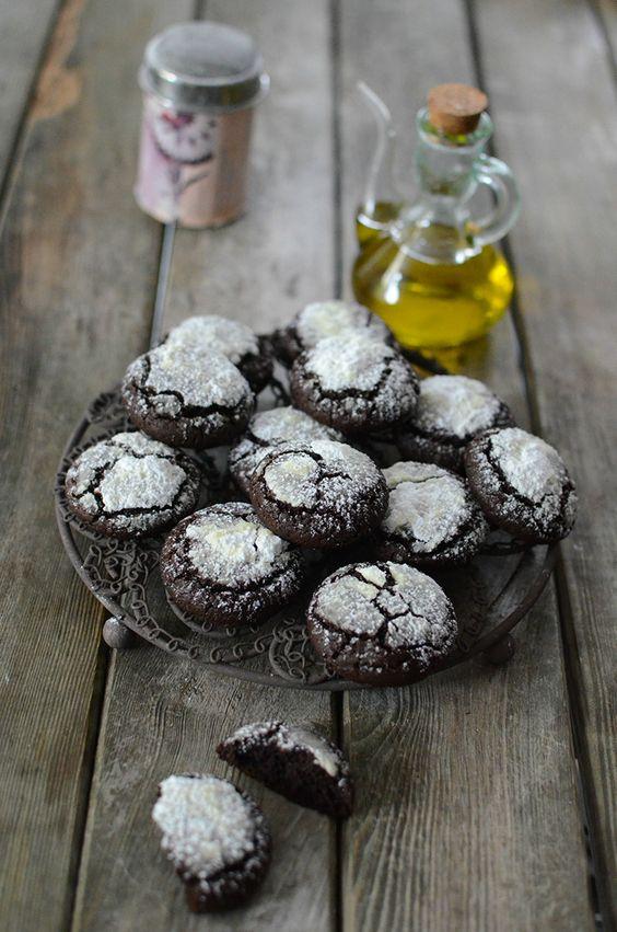Cookies au chocolat et à l'huile d'olive #recette #dessert #cookies