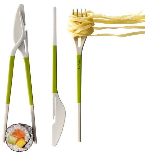 Lekue's 'Twin One' cutlery and chopsticks designed by DesignWright | $18.30 from shop.lekue.es/GB-en/twin-one-2900100 | www.lekue.es/idioma.php