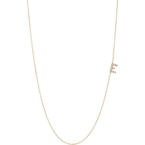 Bianca Pratt Diamond Initial Necklace ($705) ❤ liked on Polyvore featuring jewelry, necklaces, colorless, diamond letter necklace, initial charm necklace, diamond chain necklace, diamond jewelry and charm chain necklace