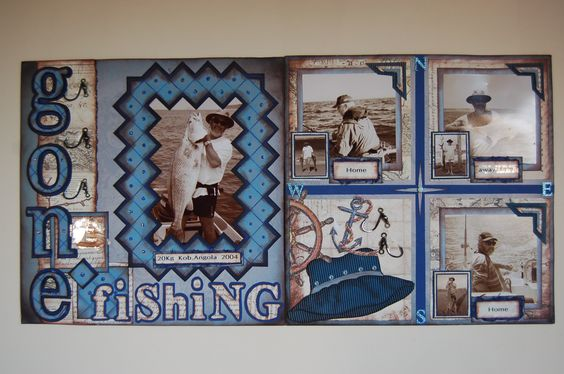 """Gone Fishing""double page scrapbook layout by Jamie Penson  jamieshappyscrapping@blogspot.com"