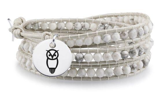 Chi Omega Symbol Round Charm on White Wrap Bracelet