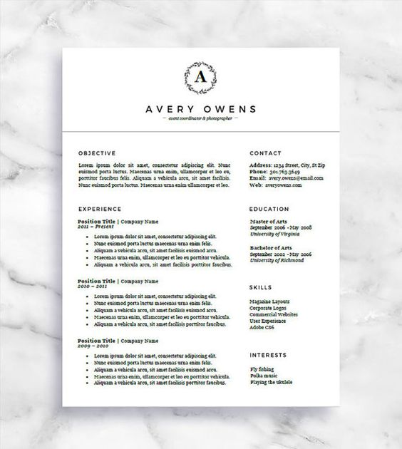 Resume Template and Cover Letter For Word and Pages One Page - cover page of resume