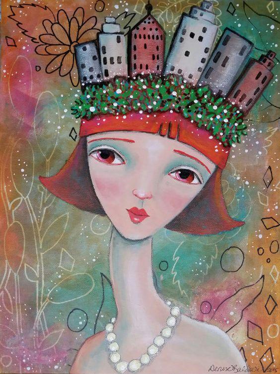 """Original pintura mixta 9 x 12"""" señora - la ciudad fue siempre en su mente - Oddimagination"""