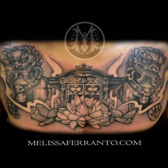 Foo Dog Japanese Temple Tattoo by Melissa Ferranto - Foo Dog Japanese Chest Piece Tattoo