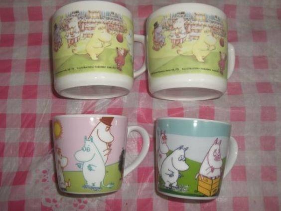 Moomin USED美品 ムーミンマグカップ大小4個セット スナフキン 北欧 インテリア 雑貨 家具 Modern ¥60yen 〆11月02日