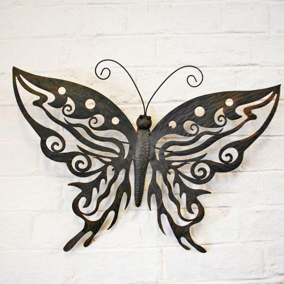 Decorative metal butterfly garden wall art design black for Butterfly garden designs free