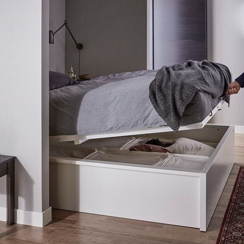 Malm Cadre Lit Coffre Blanc 160x200 Cm Ikea Storage Bed White Bedding Ikea Malm