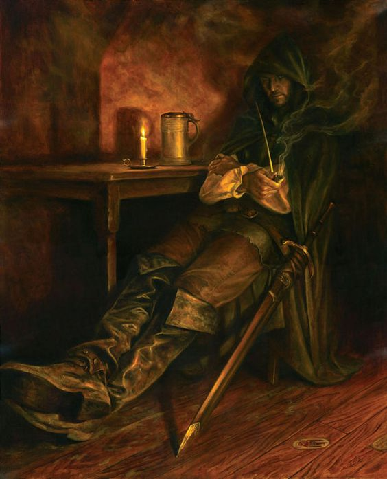 Strider, signed giclee print ranger rogue thief assassin tavern pipe sword boots hooded cloak armor clothes clothing fashion player character npc | Create your own roleplaying game material w/ RPG Bard: www.rpgbard.com | Writing inspiration for Dungeons and Dragons DND D&D Pathfinder PFRPG Warhammer 40k Star Wars Shadowrun Call of Cthulhu Lord of the Rings LoTR + d20 fantasy science fiction scifi horror design | Not Trusty Sword art: click artwork for source: