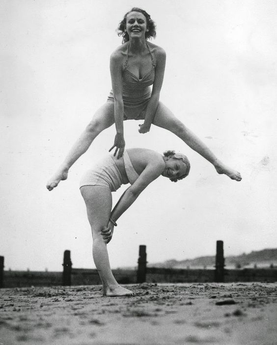 vintage everyday: 30 Interesting and Funny Vintage Photographs of People Playing Leapfrog: