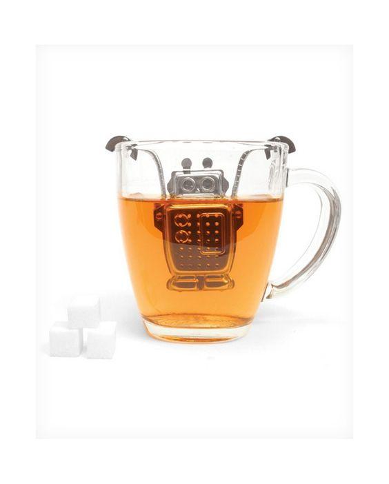 Bolsa de té metálica con forma de robot que se ajusta a la taza