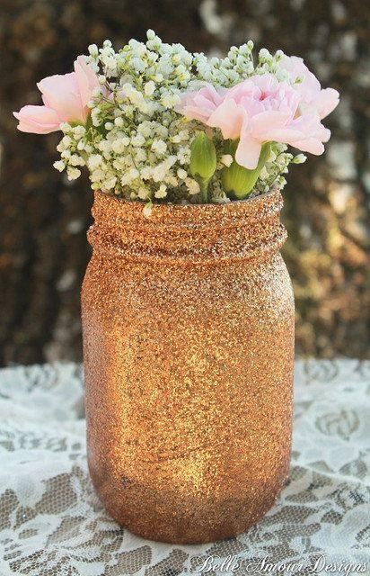 Gold glitter mason jars by MissxTrishDesigns on Etsy