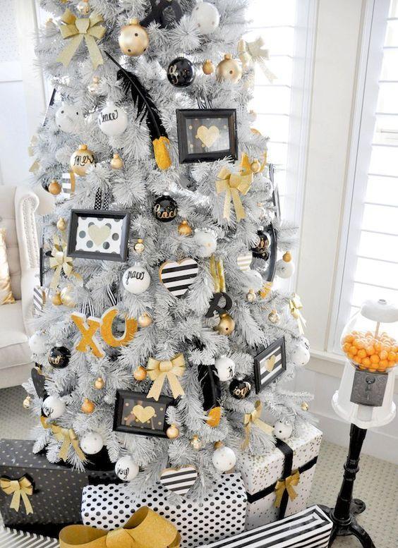 white tree with whimsy white, black and gold decor Božić Pinterest