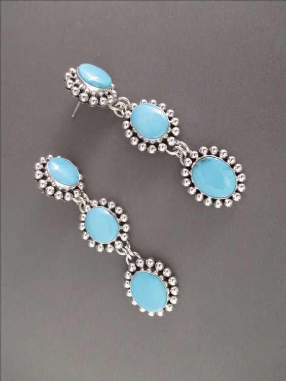 3-Tier Sleeping Beauty Turquoise Earrings by Native American (Navajo) jewelry artist, Artie Yellowhorse $665-