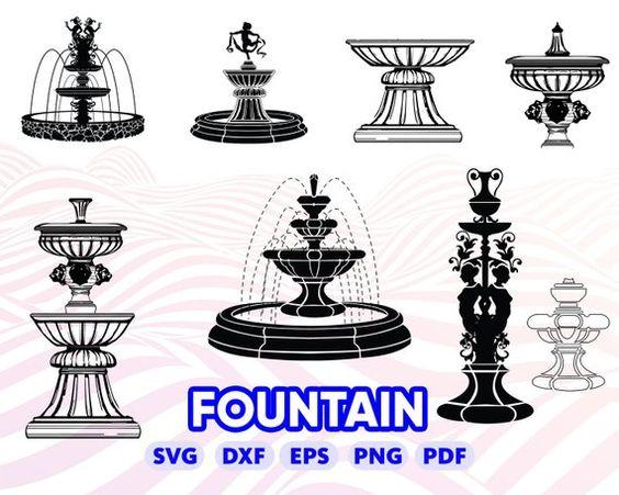 Fontain Svg Fountain Design Fountain Silhouette Fountain Clipart Fountain Monogram Fountain Dxf Fountain Sencil Founta Fountain Design Clip Art Fountain