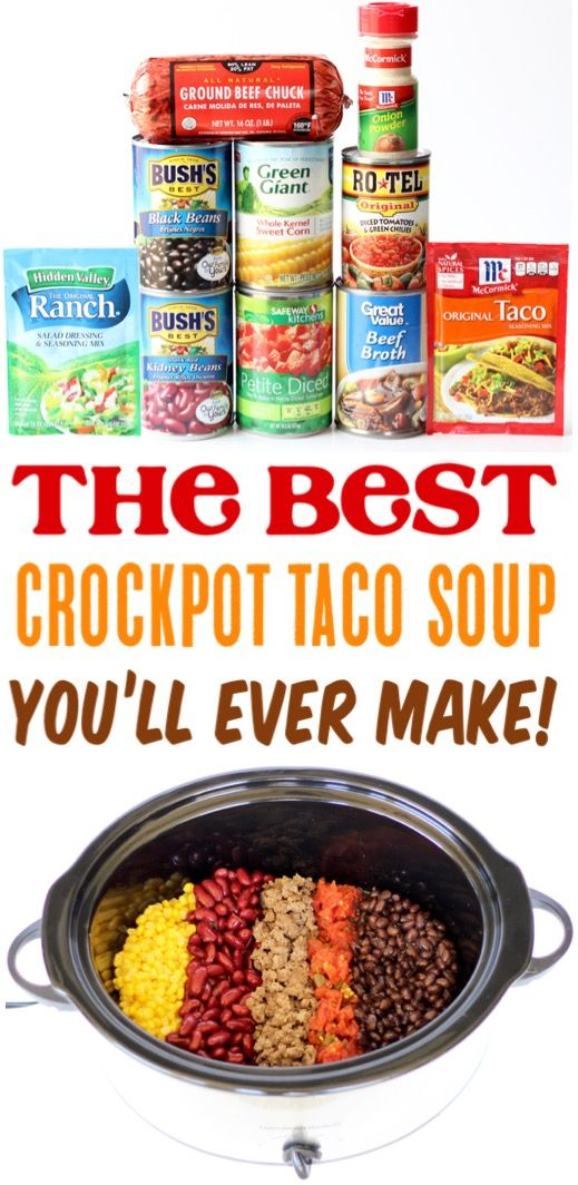 Crockpot Taco Soup This Easy Healthy Recipe With Beef Made In The Crock Pot Is The Perfect Dinner For Crock Pot Tacos Pot Recipes Easy Crockpot Recipes Easy