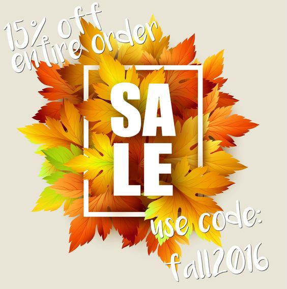 Our Fall discount starts today! Use 'Fall2016' at checkout for 15% off and free shipping through Oct 16! #GreenKing