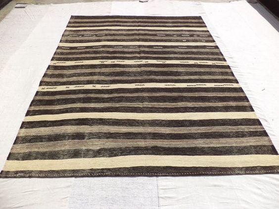 Kİlİm Rug Black And White Stripe Kilim 9 6 X7