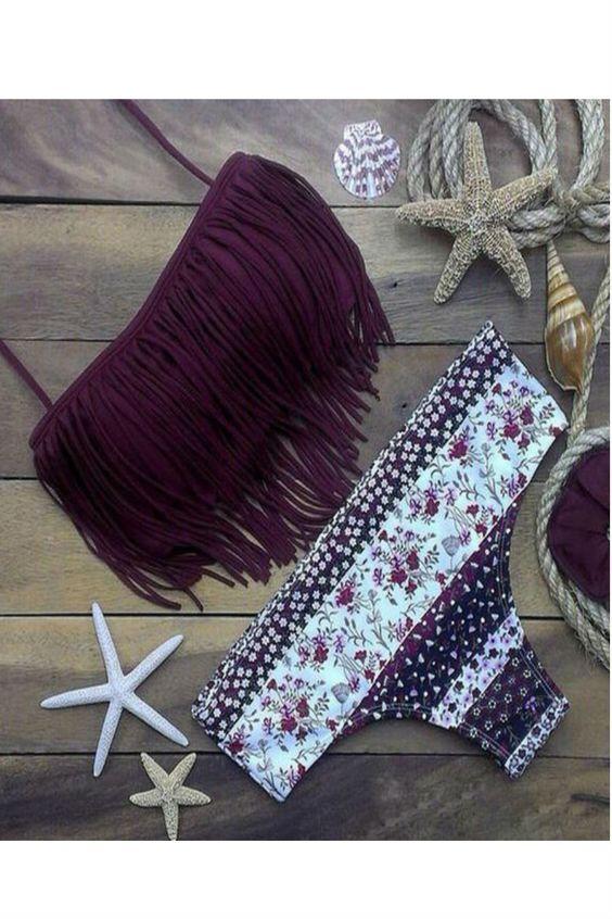 Fringed Floral Printed Halter Bikini Set