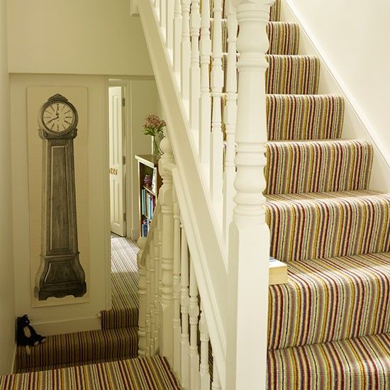 carpet ideas for stairs and landing. white hallway with striped statement carpet | decorating housetohome.co.uk house decor pinterest hallway, and stair ideas for stairs landing p