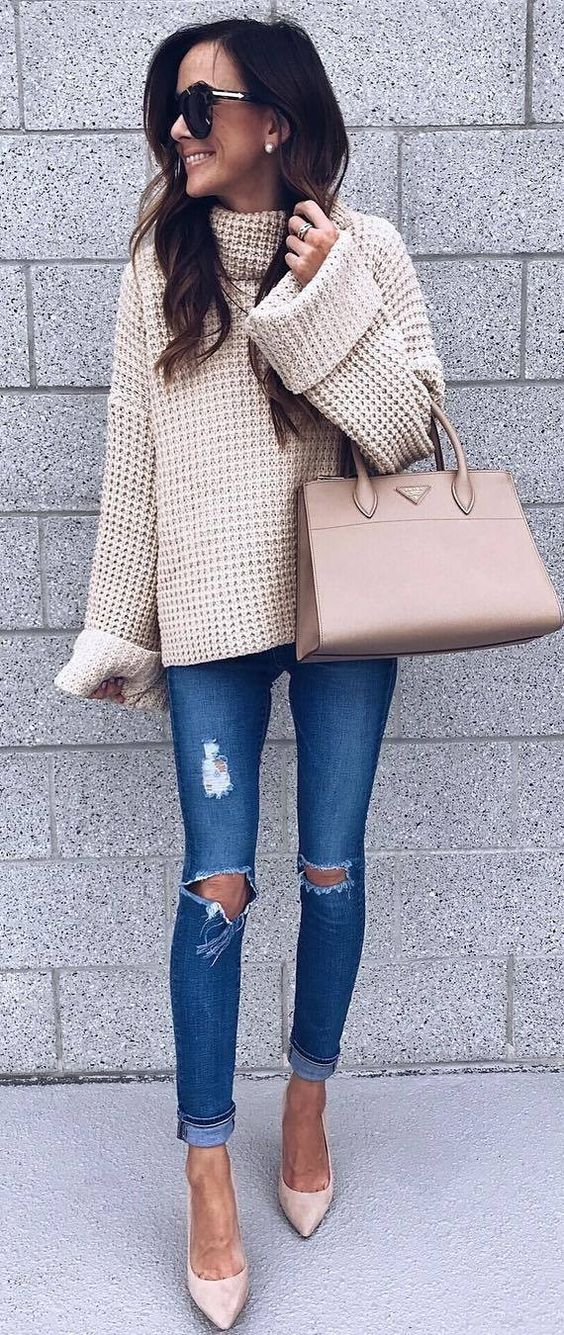fashion trends | nude knit sweater   bag   heels   rips